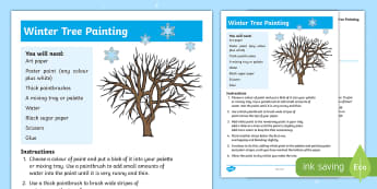 Winter Tree Painting Craft Instructions - nature, woodland, silhouette, creative, artwork, winter scene, paler and darker