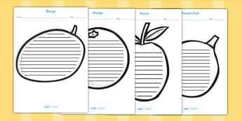 Tropical Fruit Shape Writing Frames - fruit, healthy eating