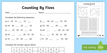 Counting By 5s Activity Sheet - F-2, Skip Counting, counting, 5s, Australia