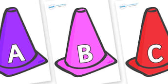 A-Z Alphabet on Cones - A-Z, A4, display, Alphabet frieze, Display letters, Letter posters, A-Z letters, Alphabet flashcards