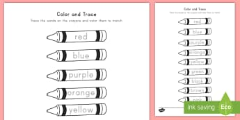 Color and Trace the Crayons Worksheet / Activity Sheet - colors, color words, crayons, coloring page, worksheet / activity sheet, color worksheet / activity sheet, crayons activity