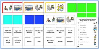 summer, game, Bingo, practice, practise, spanish, vocabulary