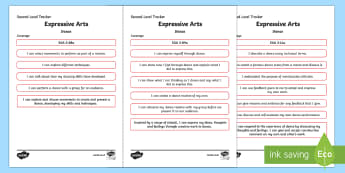 CfE Expressive Arts (Dance) Second Level Child Friendly Tracking-Scottish - Child Friendly Tracking CfE, tracker, EXA, curriculum for excellence, 2nd level, progression, I can,