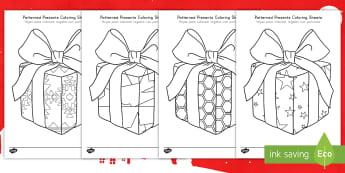 Patterned Presents Coloring Sheets US English/Spanish (Latin) - christmas colouring sheets, present colouring sheets, christmas themed, spanish, coloring