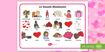 Valentine's Day Word Mat Gaelic - CfE Gaelic Events Resources, Valentine's Day, Word Mat, Vocabulary, Key words, Gaelic, Literacy, 1+