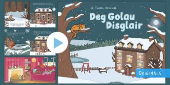 Pŵerbwynt Stori Deg Golau Disglair - anifeiliaid, nosol, nos a dydd, gaeaf, nadolig, ten little lights,Welsh-translation