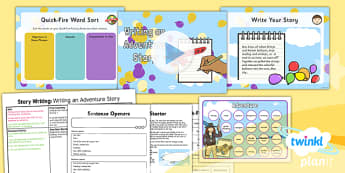 Explorers: Up and Amelia Earhart: Story Writing 2 Y2 Lesson Pack - Adventure story, Disney, famous women, inventors, aviation, transport
