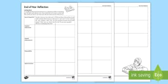End-of-Year Reflection Activity Sheet - reflections, report writing, pastoral record, pastoral achievement, achievement sheet, end of year s