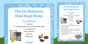 Find the Minibeasts Cloud Dough Recipe - EYFS, Minibeasts, Creepy Crawlies, Bugs