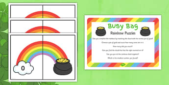 St Patrick's Day Rainbow Number Puzzle Busy Bag Prompt Card and Resource Pack - St Patricks Day