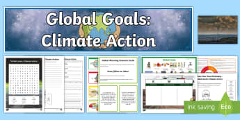 Global Goals Climate Action CfE Second Level IDL and Resource Pack - Global citizenship, topic pack, 2nd level, CfE, global issues, resource suggestions, people in socie