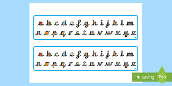 image about Alphabet Strip Printable named Alphabet Strips - English Instrument - Twinkl
