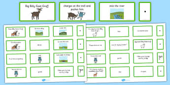 The Three Billy Goats Gruff Sentence Building Cards - billy goats