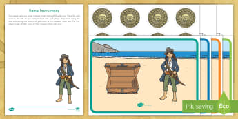 Pirate Treasure Chest Roll and Count Game - pirate, pirates, pre-k math, kindergarten math, roll and count, roll and count game, treasure chest,