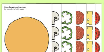 Pizza Ingredients Fractions Romanian Translation - romanian, fraction, food, maths, numeracy