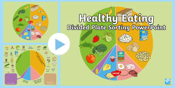 Healthy Eating Divided Plate Sorting PowerPoint  - Healthy Eating Divided Plate Sorting Activity - food groups sorting activity, healthy eating, health
