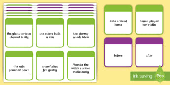 KS2 Time Conjunctions Number 1 Card Game - Time, time conjunctions, time connectives, connectives, conjunctions, adverbials, linking, devices,