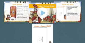 History Hackers: Roman Rescue Make a Roman Shield Activity Pack - junk modelling, combat, weapon, armour, army, soldier