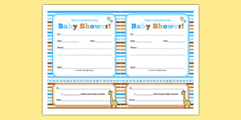 Baby Shower Invitation Blue Themed - baby shower, baby, shower, newborn, pregnancy, new parents, invitation