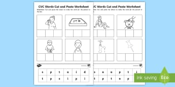 Phase 2 Set 1 CVC Words Cut and Paste Activity Sheet  - Phase 2 Set 1 CVC Words Cut and Paste Activity Sheet - CVC worksheets, CVC words, literacy, phonics,