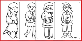Christmas Elf Colouring Sheets - colouring, christmas, elf, sheet