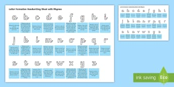 Cursive Letter Formation Handwriting Sheet with Rhymes - letter formation, handwriting, cursive, sheet, rhymes
