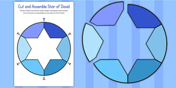 Cut and Assemble Star of David Activity - star of david, cut, assemble