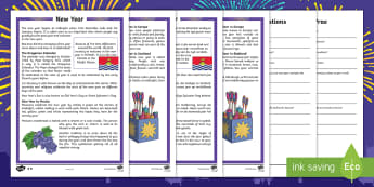 New Year Differentiated Reading Comprehension Activity English/Afrikaans - January, celebrate, traditions, countries, Januarie, lande, EAL