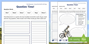 KS1 Around the World in 80 Days Mark Beaumont Interview Questions - Mark Beaumont, cycle, cycling, bike, bicycle, challenge, adventure, goal, target, setting, World Rec