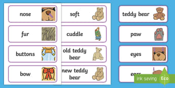 Teddy Bear Word Cards - EYFS, Early Years, key stage 1, kS1, toys, teddy bears, reading, writing, literacy, english.