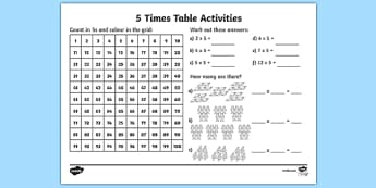 5 Times Table Activity Sheet - 5 times tables, counting 5s, 5s, 5, five times table, multiplication, multiplying by 5, times table, times tables, multiplication tables, ks2, worksheet