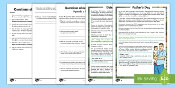 KS2 Father's Day Differentiated Reading Comprehension Activity English/Polish - Father's Day, comprehension, KS2, reading, differentiated, June, dad, daddy, history,EAL