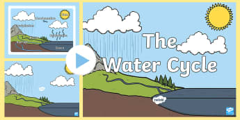 Water Cycle Diagram PowerPoint - Water cycle, Evaporation, Condensation, precipitation, accumulation, Run-Off, rain