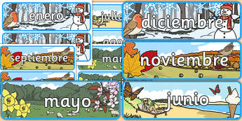 Months of the Year With Seasons Theme Display Posters Spanish - spanish, months, year, seasons, display, posters