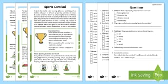 Australia Sports Carnival Differentiated Reading Comprehension Activity-Australia - Activities, P.E., Race, Facts, Information, Non-fiction, Real life, Questions,Australia