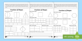 Year 2 Maths Fractions of Shapes Homework Worksheet / Activity Sheet - year 2, maths, homework, fractions, shapes, half, quarter, three-quarters, 1/2, 1/4, 3/4, 2/4, equiv