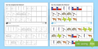Texas Complete the Pattern Differentiated Activity Sheets - texas state symbols, math patterns, AB pattern, ABC Pattern, AABB pattern, worksheet, Social Studies