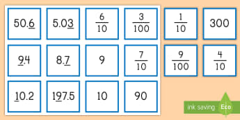 Finding the Value of the Underlined Digit with Decimals Matching Cards - decimals, place value, value, fractions, tenths, hundredths