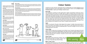 Game to Practise Colours: Spanish Parent and Carer Information Sheet - Spanish colours, los colores, games, Summer acitivities, Spain, Languages