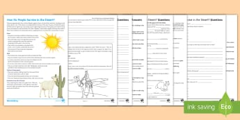 How Do People Survive in the Desert? Activity Pack - deserts, survival, human, Bedouin, extreme environments, KS3