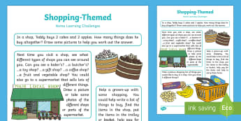 Shopping-Themed Home Learning Challenges Nursery FS1 - EYFS, Early Years, Homework, Home Learning, Shopping, Shops, Supermarket, Money, Shopping List.