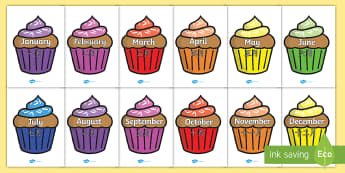 Months of the Year on Cupcakes Display Poster - English/Mandarin Chinese - Months of the Year on Cupcakes - Months of the Year, Months poster, Months display, display, poster,
