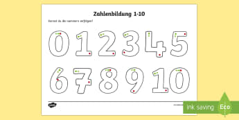 Number Formation Worksheet / Activity Sheet - number formation, number, formation, german, activity, maths, mathematics, numeracy, overwriting