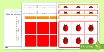 Bingo: Los números del 10 al 20 de las mariquitas Bingo-Spanish - números del diez al veinte, insectos, contar, juegos, mariquitas