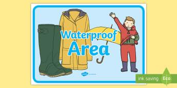 Waterproof Area Display Sign - outside, wet, wet play, waterproof, classroom, organisation, role play,