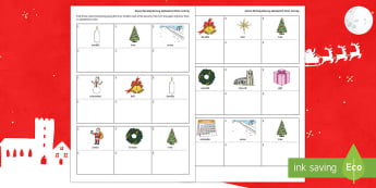 Advent Working Memory Alphabetical Order Activity - literacy, cognitive, thinking skills, christmas, ordering