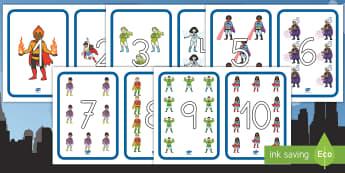 Números de exposición: Los superhéroes - Los superhéroes, proyecto, transcurricular, poderes, exponer, recta, numérica, contar, Spanish