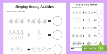 Sleeping Beauty Up to 10 Addition Sheets - sleeping beauty, 0-10 addition, addition, addition worksheet, counting and addition, counting, numeracy, adding