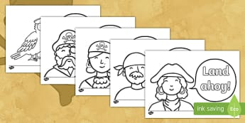 Land Ahoy! Pirate Colouring Pages - Pirates, colouring, ahoy, pirate talk, talk like a pirate day