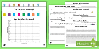 Birthday Graph Activity Pack - End of Year,Back to School ,Australia, transition, new year, new class